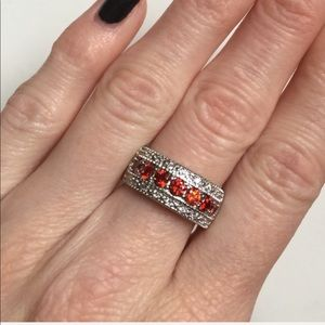 Jewelry - NWOT .925 Silver and Ruby CZ Ring